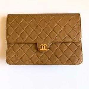 Chanel beige Matelasse clutch bag gold hardware